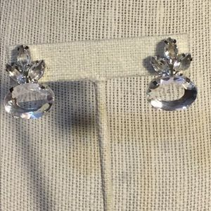 Jewelry - Gorgeous Clear Crystal & Silver Tone Post Earrings